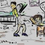 zieken voelen aan verpleegsters